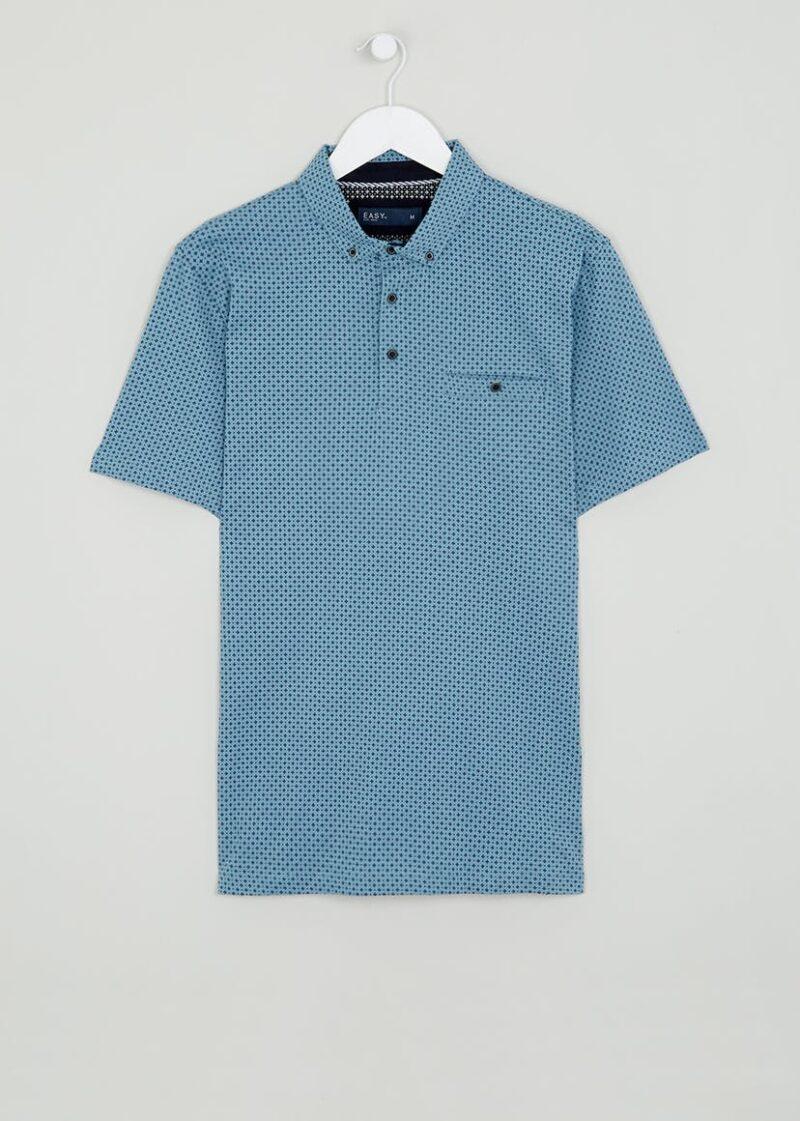 Blue Smart Printed Polo Shirt