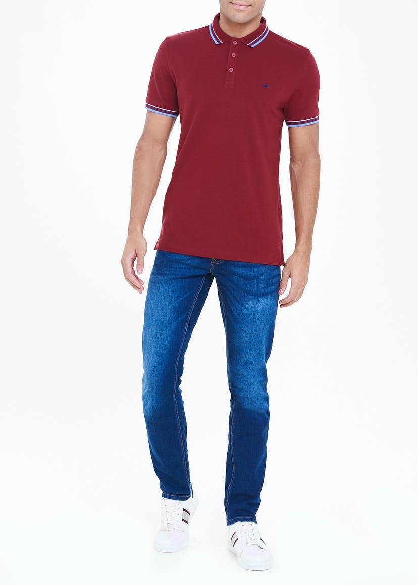 Burgundy Stripe Collar Polo Shirt
