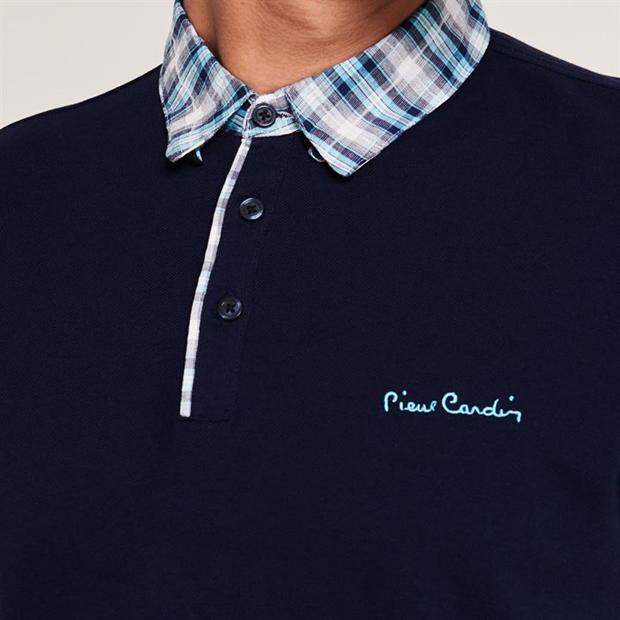 Pierre Cardin Short Sleeve Check Polo T-shirt- Navy