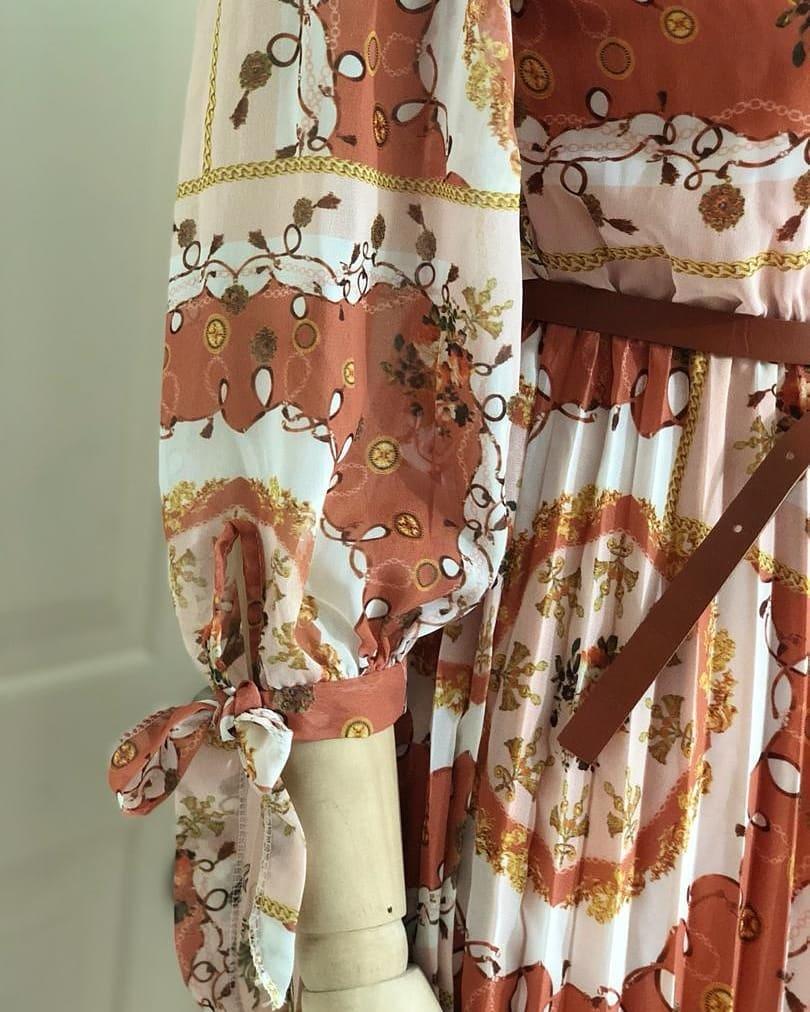 Tan Parsley Print Dress